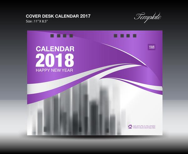 Purple cover desk calendar 2018 vector material 07