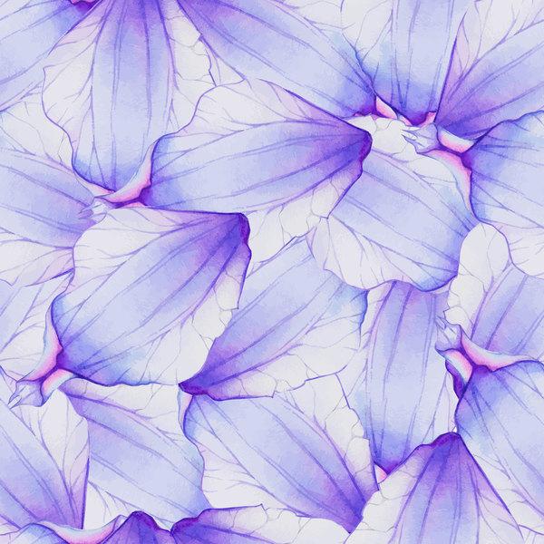 Purple watercolor flower petal pattern vector 02