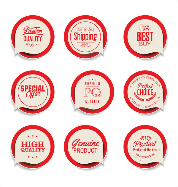 Red sale sticker vector set