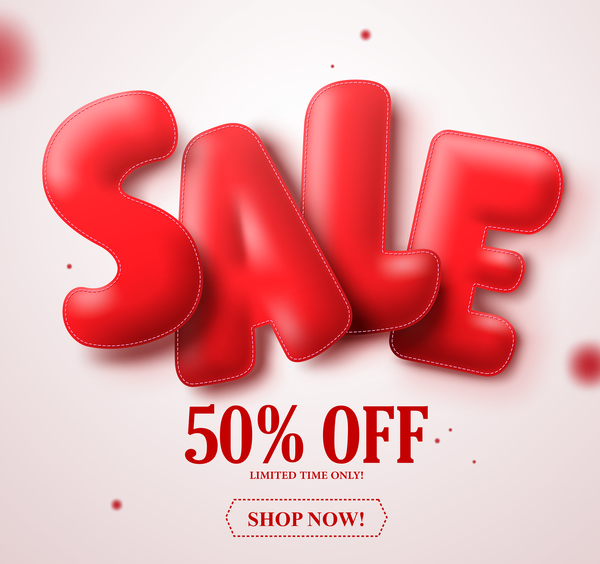 Red sale text with blurs background vector 02