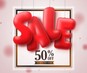Red sale text with blurs background vector 03