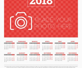 Red styles 2018 calendar with photo vectors 01