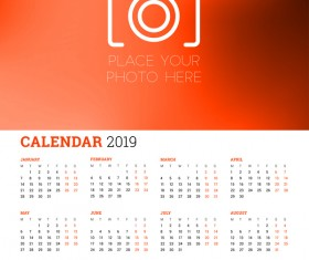 Red styles 2018 calendar with photo vectors 02