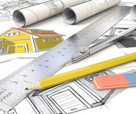 Residential Set Drawing Stock Photo