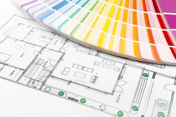 Residential drawings and color cards Stock Photo