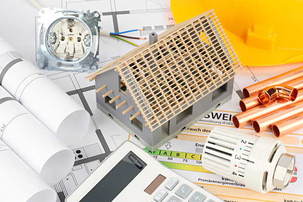 Residential drawings and housing models Stock Photo