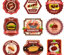 Rest fast food labels vector