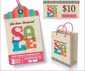 Retro sale tag with bag vector 01
