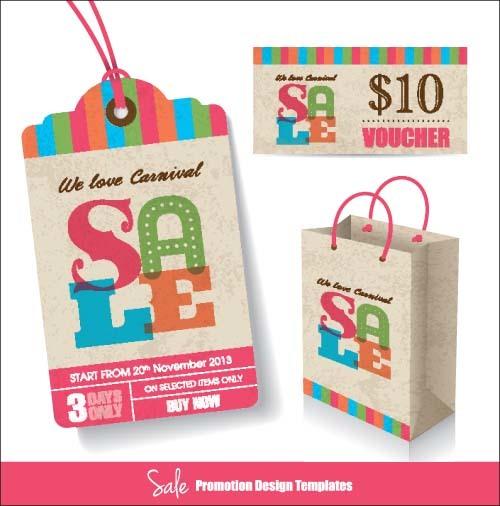 Retro sale tag with bag vector 01