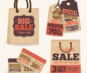 Retro sale tag with bag vector 02