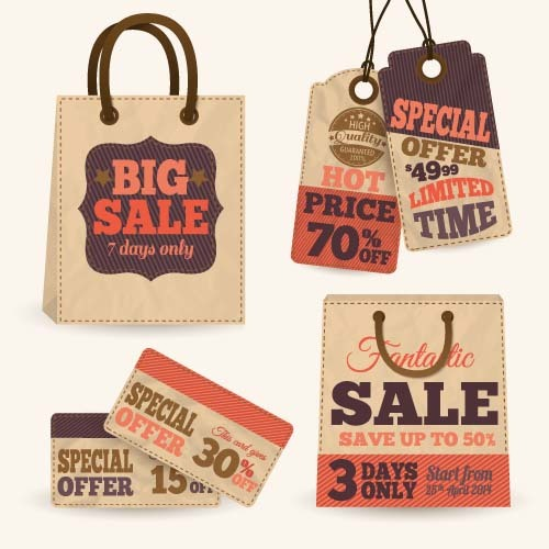 Retro sale tag with bag vector 02