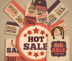 Retro sale tag with bag vector 03