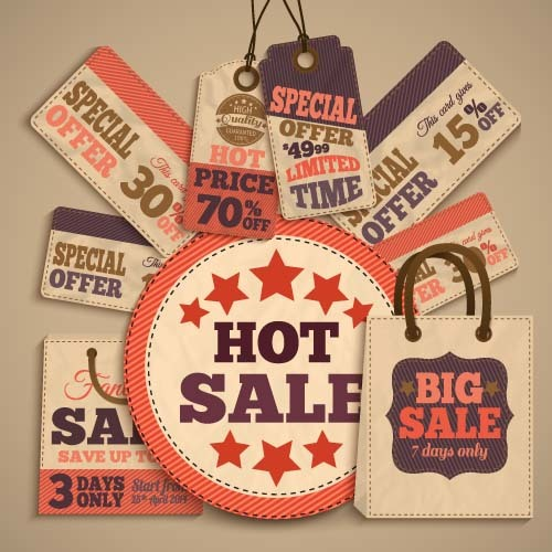 Retro sale tag with bag vector 03