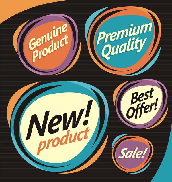 Retro stickers design vector