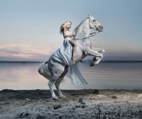 Riding a white horse woman HD picture