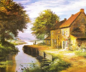 River hut oil painting Stock Photo