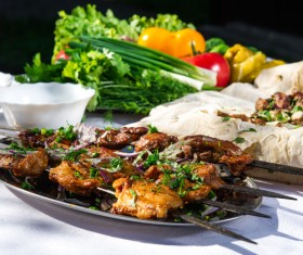 Roasted chicken wings and vegetables HD picture