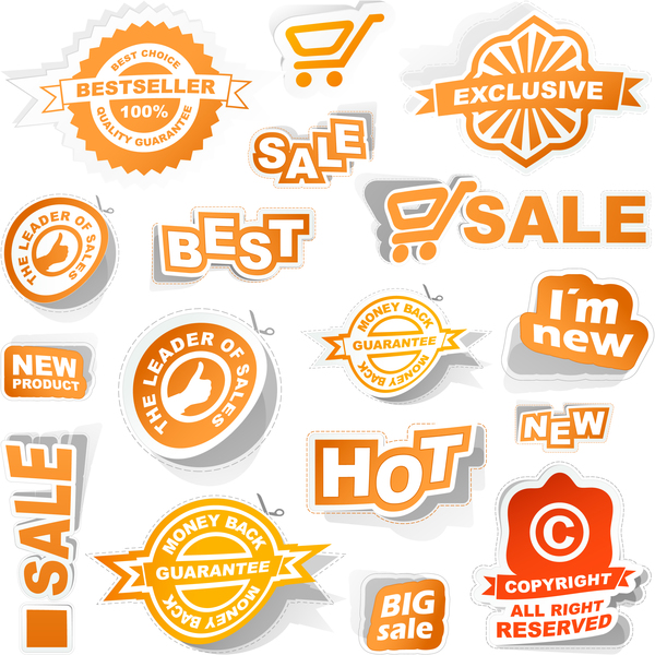 Sale badge stickers vector material