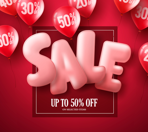 Sale discount red background with red balloon vector