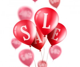 Sale discount with red balloon vector 02