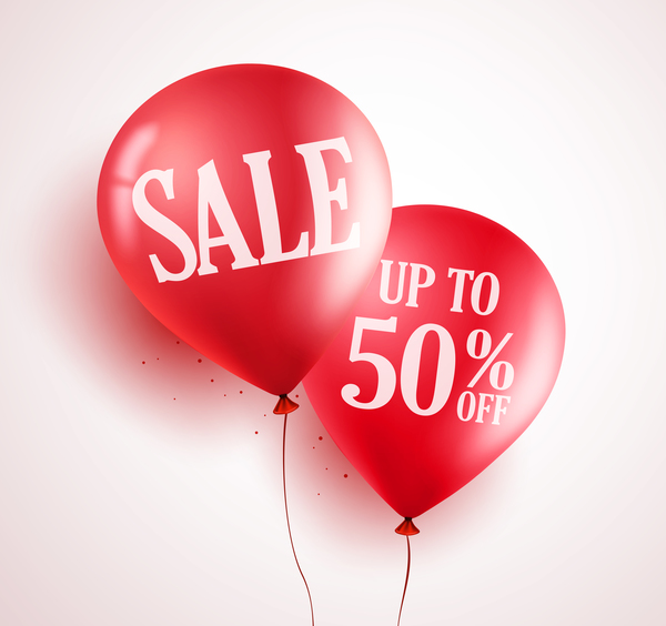 Sale discount with red balloon vector 03 free download