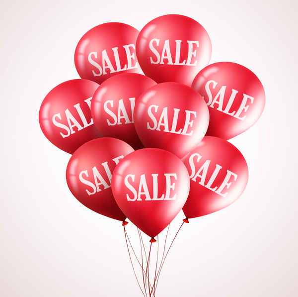 Sale discount with red balloon vector 04