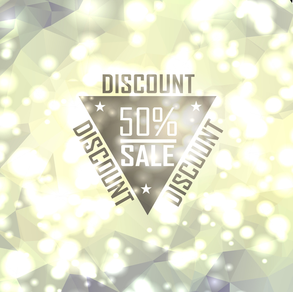 Sale discount with shiny polygon background vector