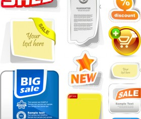 Sale stickers with shopping cart button vector