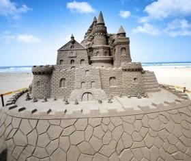 Sand sculpture castle Stock Photo