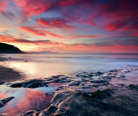 Sandy beach at dusk HD picture