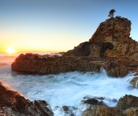 Seawater scouring the rocks HD picture