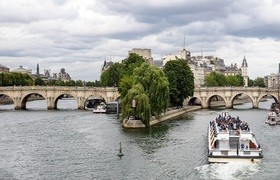 Seine New Paris Bridge Stock Photo
