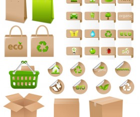 Set of ecological container vector material