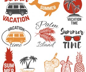 Set of summer time emblems color vector