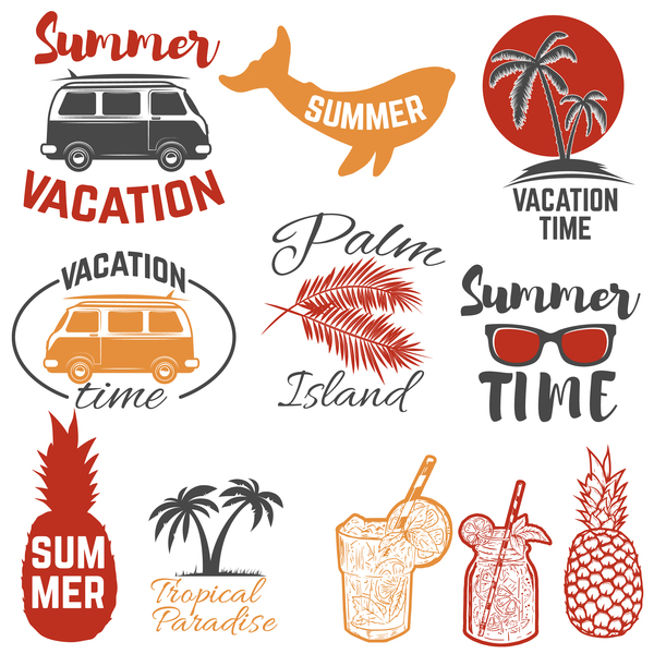 Set of summertime emblems. Palm trees, sunglasses, pineapples,su
