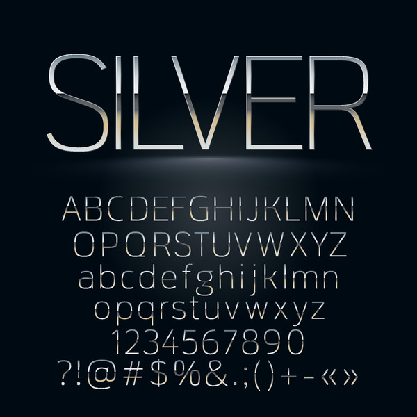 Silver alphabet with numbers and sign vector
