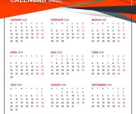 Simple 2018 calendar template vector 01