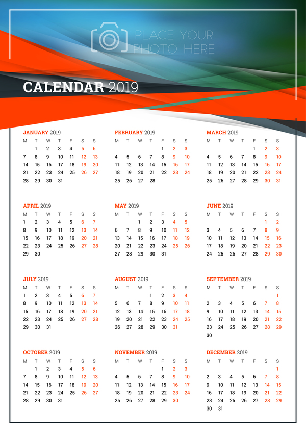 Simple 2018 calendar template vector 02