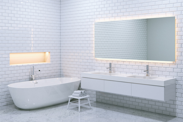 White Luxury Bathroom Interior With Brick Walls 3d Render