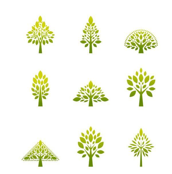 Simple tree logos design vector
