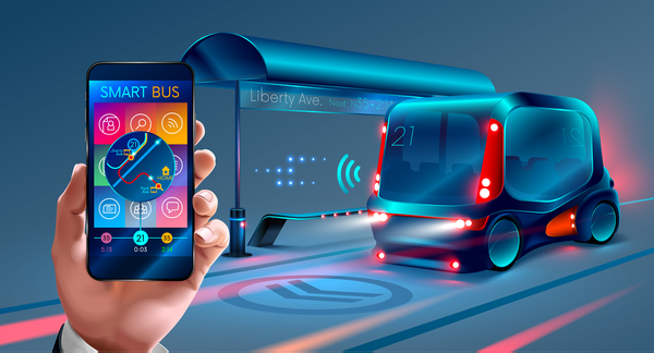 Smart bus concept design vector 01