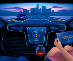 Smart car assistance vector material