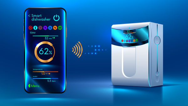 Smart dishwasher with mobile vector