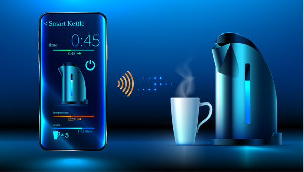 Smart kettle with mobile vector