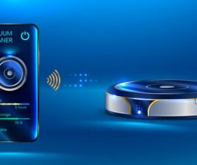 Smart vacuum cleaner vector design