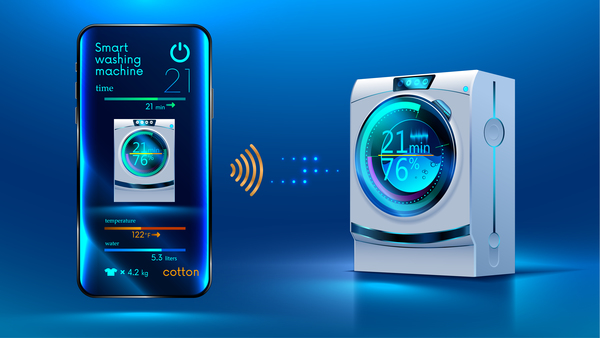 Smart washing machine with mobile vector