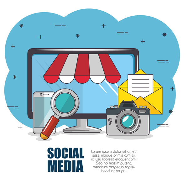 Social media with network vectors template 01
