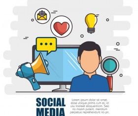 Social media with network vectors template 02