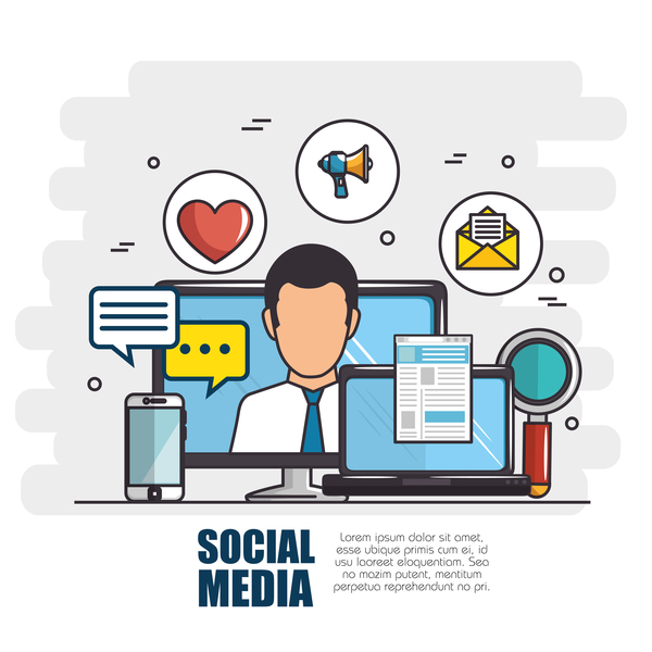 Social media with network vectors template 03