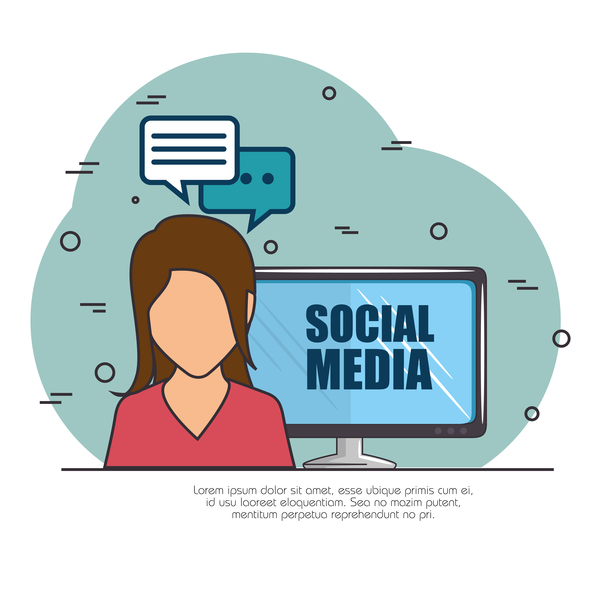 Social media with network vectors template 04